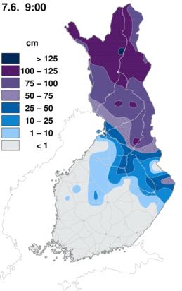 météo en Finlande Finland-snow-depth-observations-map