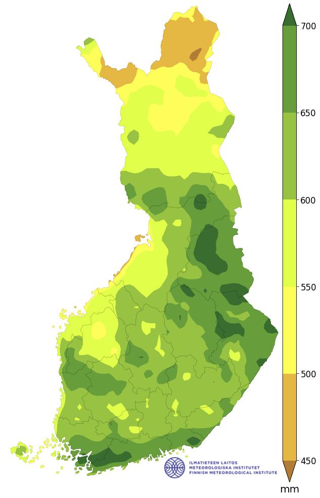 sademäärä 1991–2020, vuosi