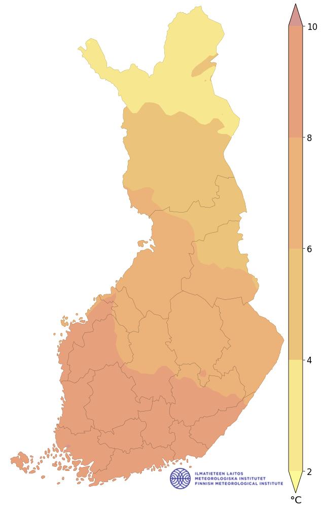 ylin lämpötila 1991–2020, vuosi