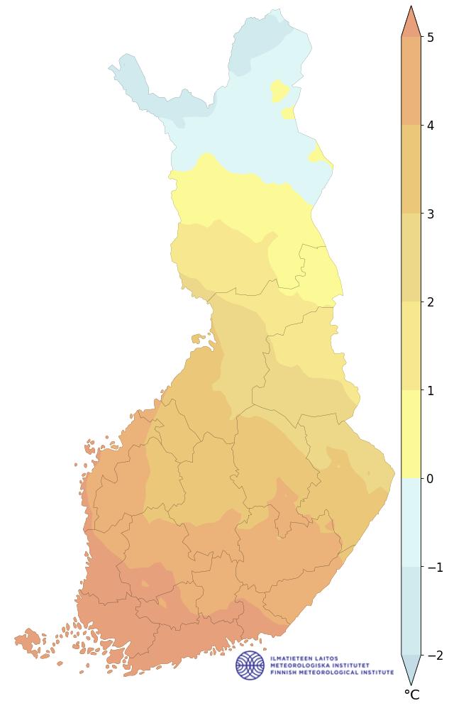 keskilämpötila 1991–2020, vuosi